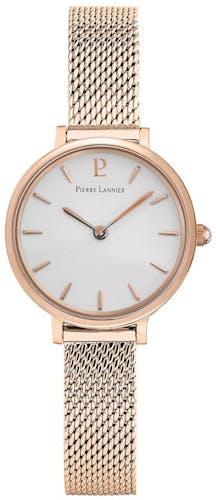 Cette montre PIERRE LANNIER se compose d'un boîtier Rond de 26 mm et d'un bracelet en Acier Rose