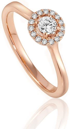 Ce Solitaire LADY DIAMONDS est en Or 750/1000 Rose et Diamant Blanc