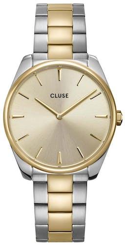Cette montre CLUSE se compose d'un boîtier Rond de 38 mm et d'un bracelet en Acier Bicolore
