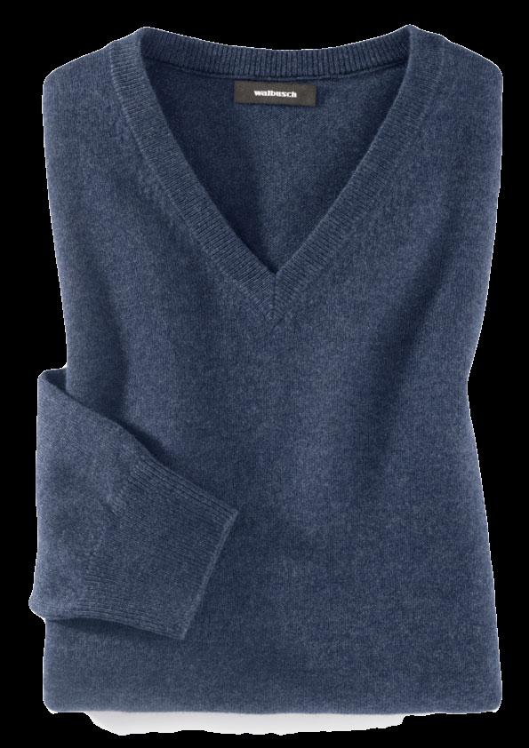 Dunkelblauer Pullover mit V-Ausschnitt.