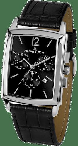 Montre JACQUES LEMANS Homme avec Boîtier Carré 30x37mm et Bracelet Cuir Noir