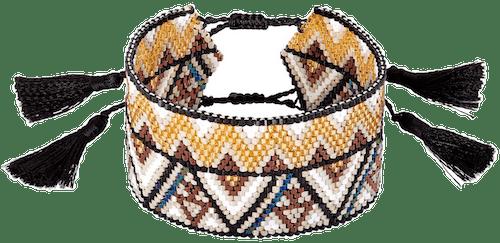 Bracelet INDIAN SUMMER Tissu, Perles en verre du Japon Multicouleur