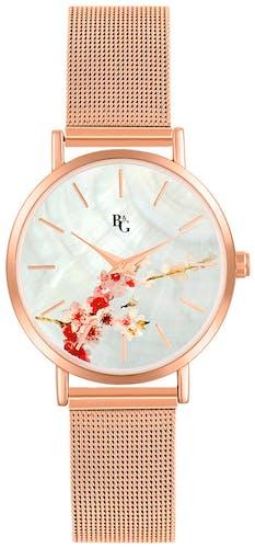 Cette montre B&G se compose d'un boîtier rond de 34mm, d'un bracelet en métal et d'un cadran de couleur or rose.