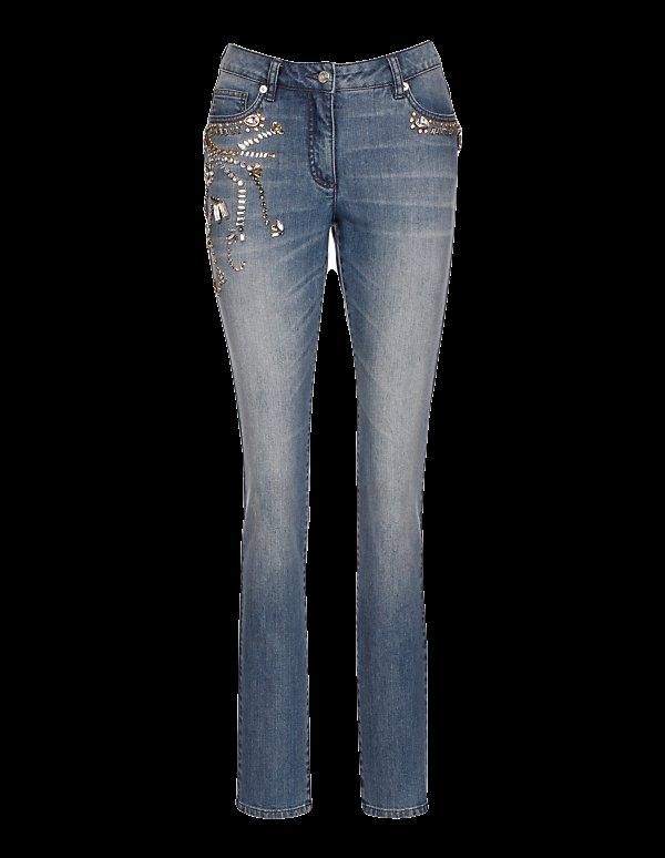 Slimline-Jeans mit Strassverzierung