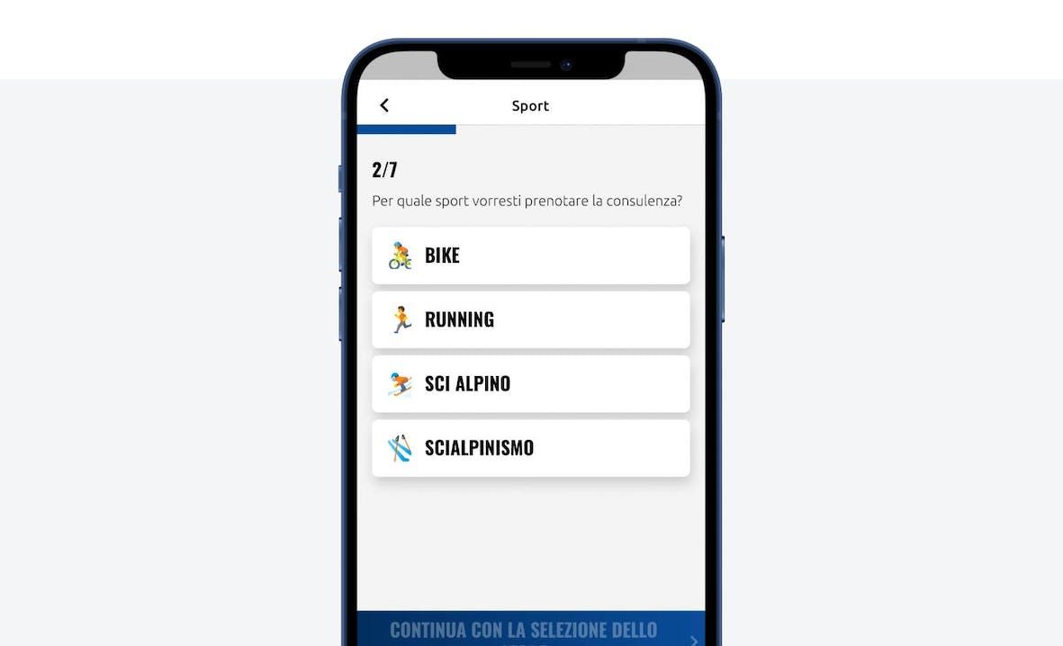 Schermata app prenota un esperto