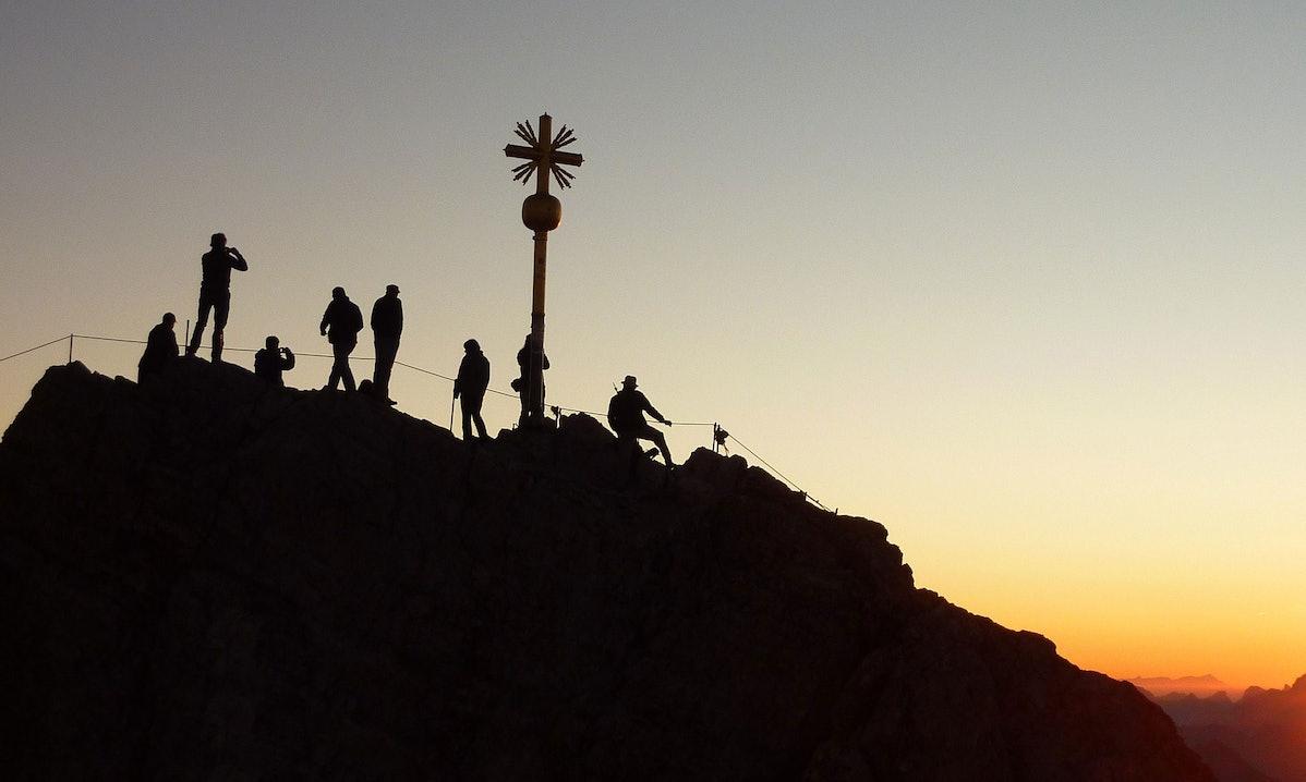 Wanderer auf der Zugspitze