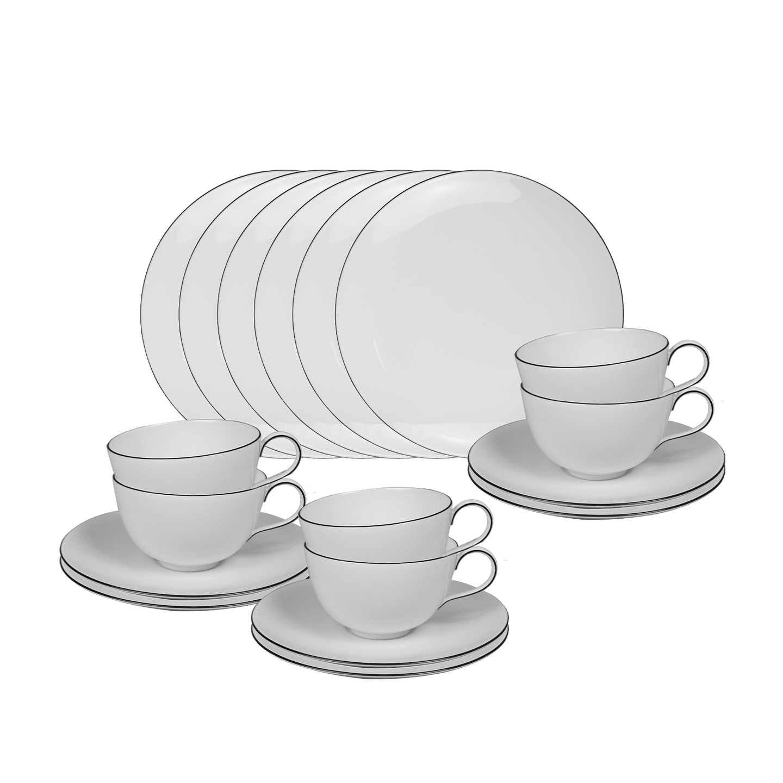 Frühstücks-Set, URBINO, 18-teilig (6 Personen) mit schwarzem Rand