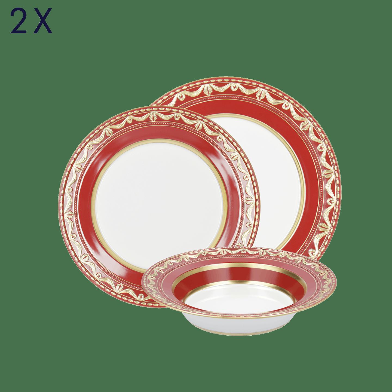 Dinner-Set, KURLAND BLANC NOUVEAU, 6-teilig (2 Personen), Royal Rouge