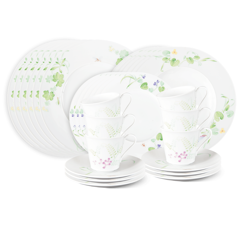 Dinner-Set 30-teilig (6 Personen), FELDBLUME, dekoriert