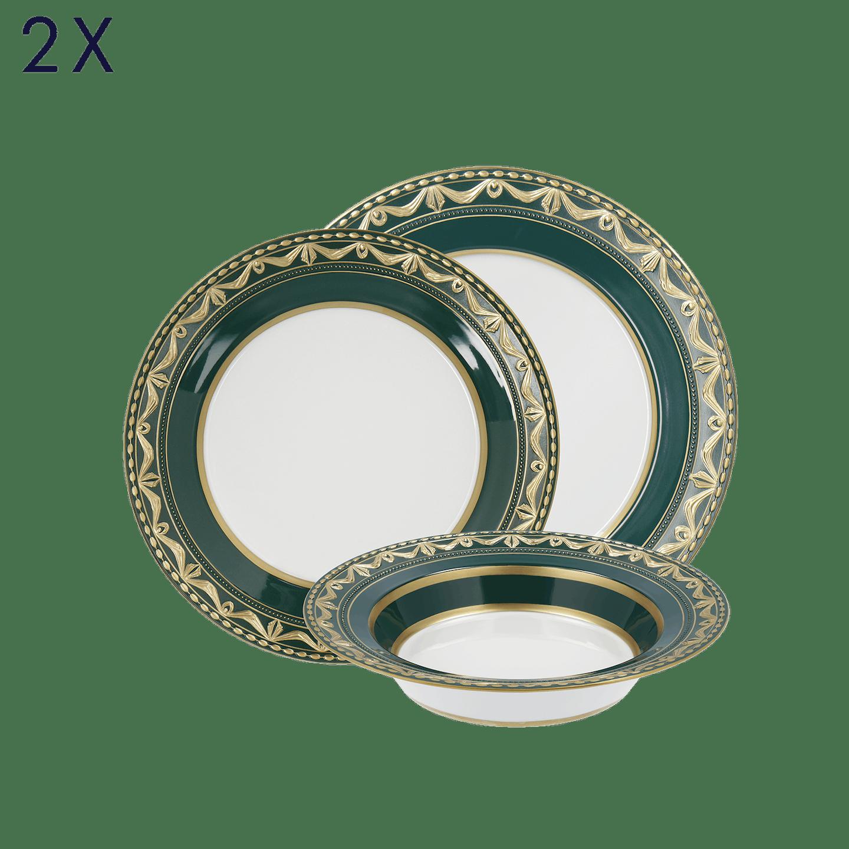 Dinner-Set, KURLAND BLANC NOUVEAU, 6-teilig (2 Personen), Royal Vert