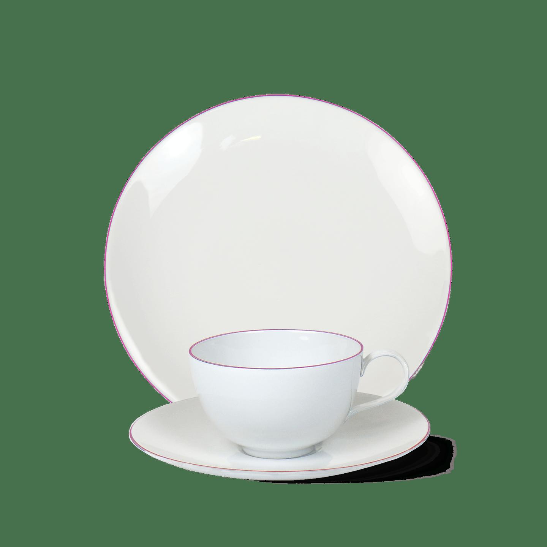 3-teiliges Frühstücks-Set, URBINO, Rosa Rand