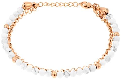Ce Bracelet MISSISSIPI est en Acier Rose et Howlite Blanc