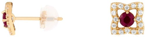 Boucles d'oreilles CLEOR en Or 375/1000 Jaune, Oxyde et Rubis Rouge