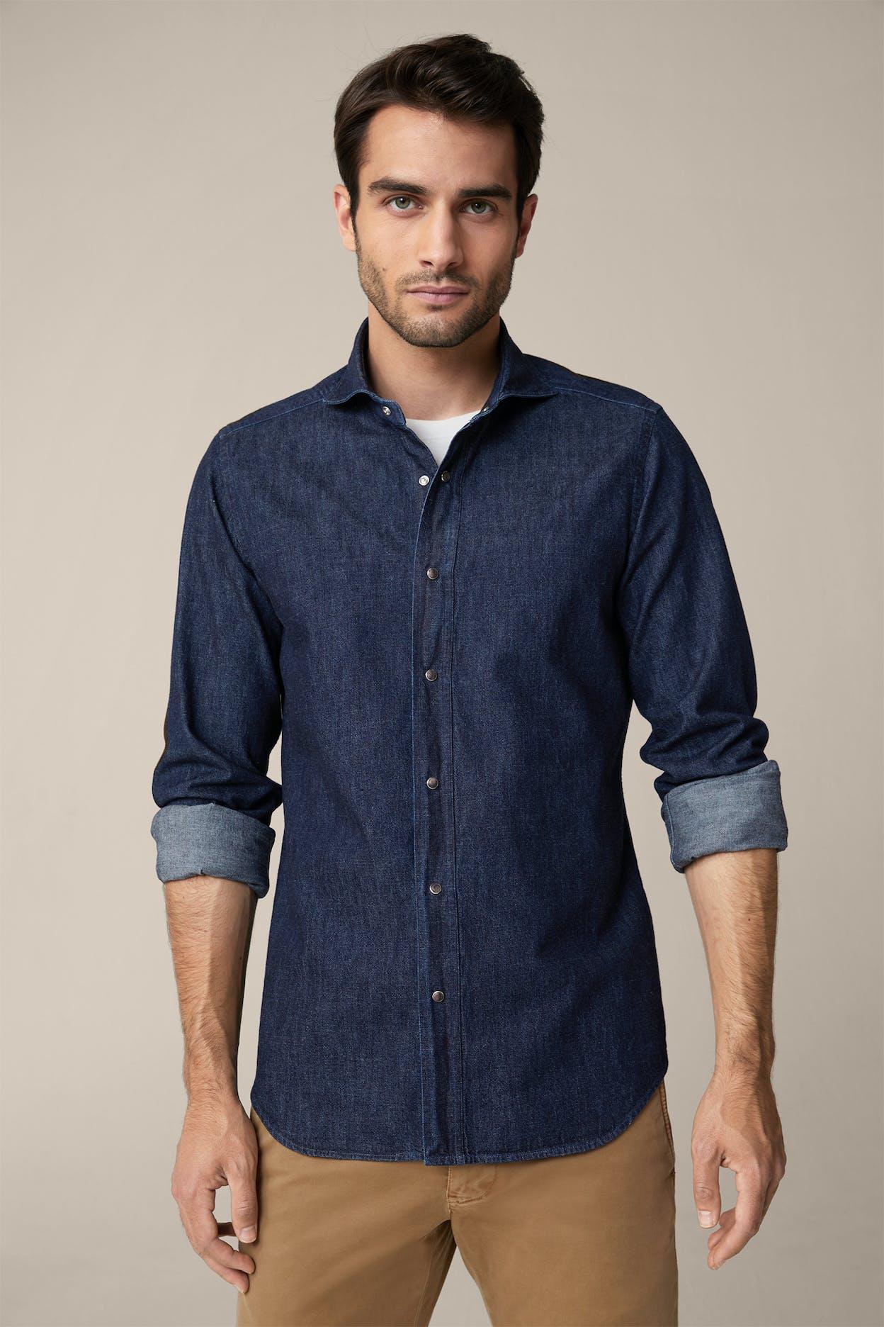 Jeans-Hemd Lugano in Dark Denim Blue