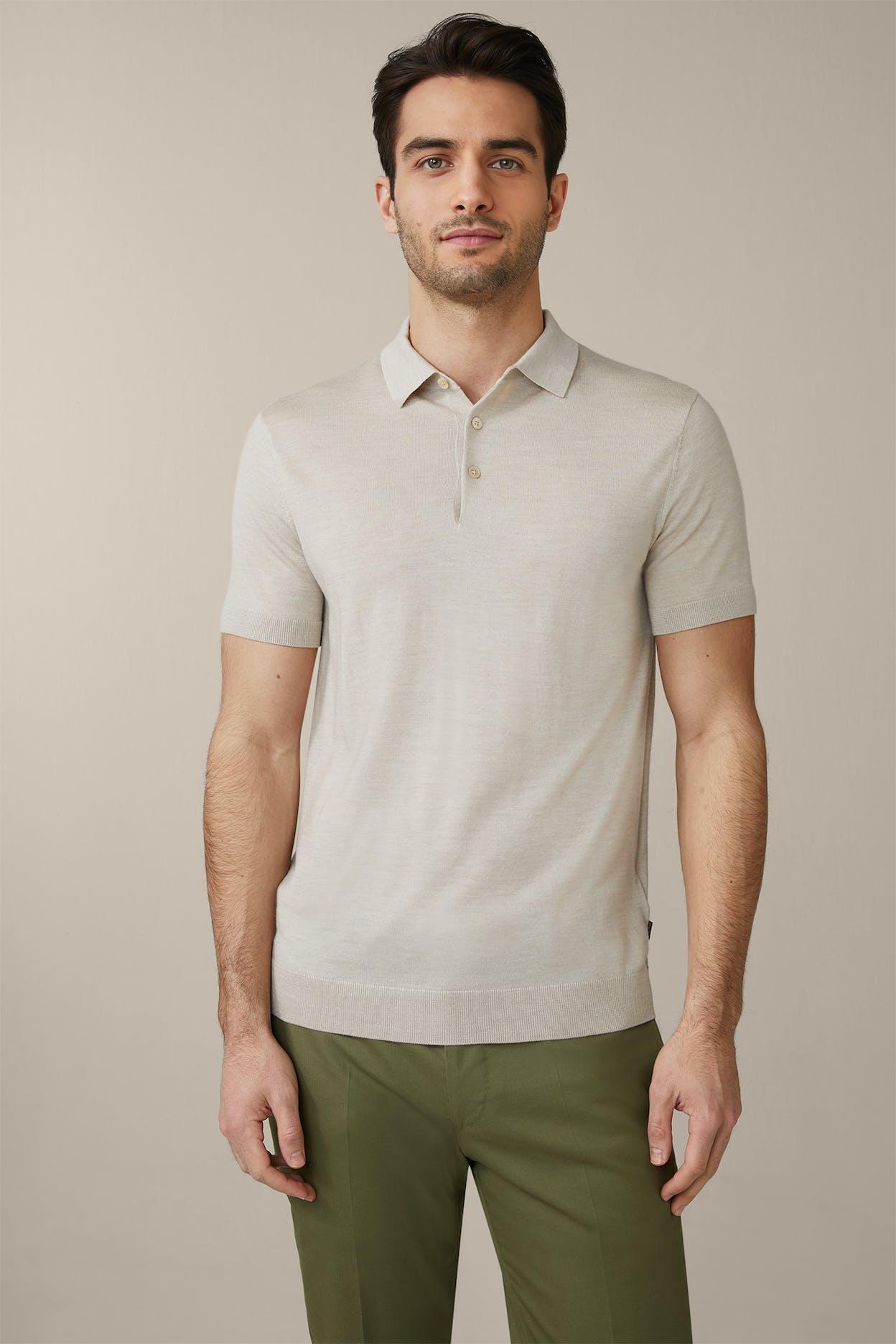 Strick-Poloshirt Nando mit Seide und Cashmere in Hellbeige