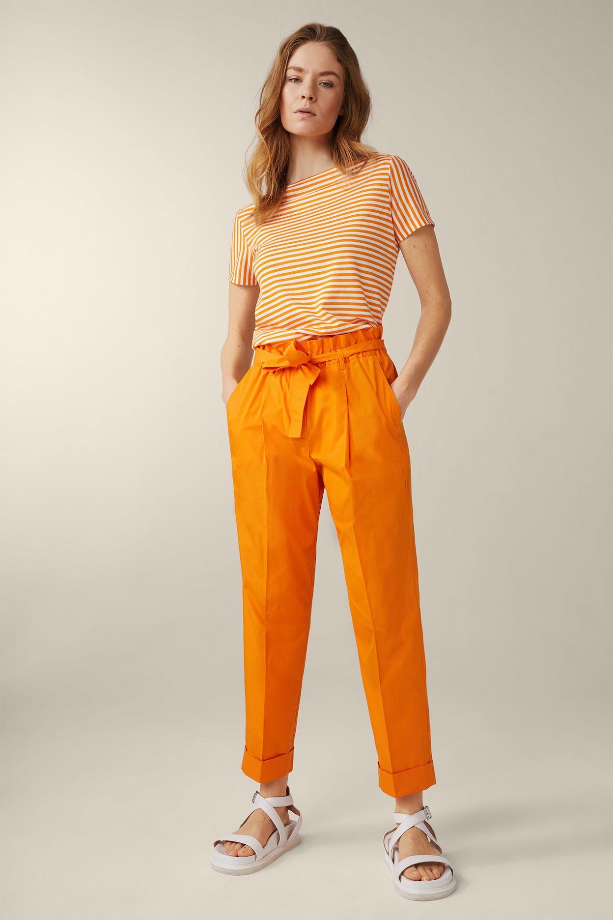 Feine Popeline-Hose verkürzt mit Umschlag in Orange