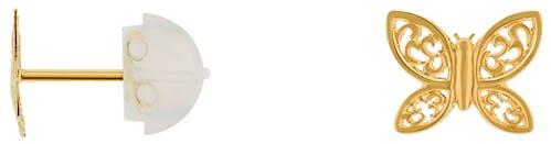 Ces Boucles d'oreilles CLEOR sont en Or 375/1000 Jaune en forme de Papillon