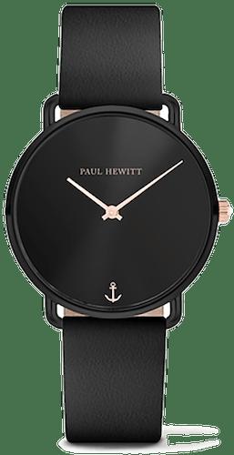 Cette montre PAUL HEWITT se compose d'un Boîtier Rond de 33 mm et d'un bracelet en Cuir Noir