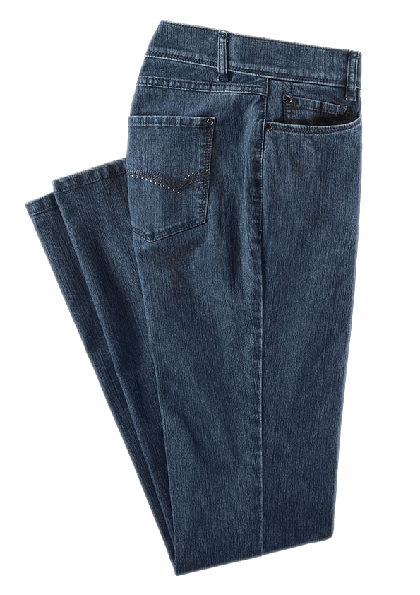 Blaue Jeans mit Gürtelschlaufen und Taschen.