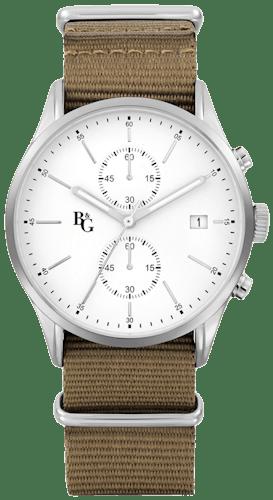 Cette montre B&G se compose d'un boîtier rond de 42mm et d'un bracelet en tissu kaki