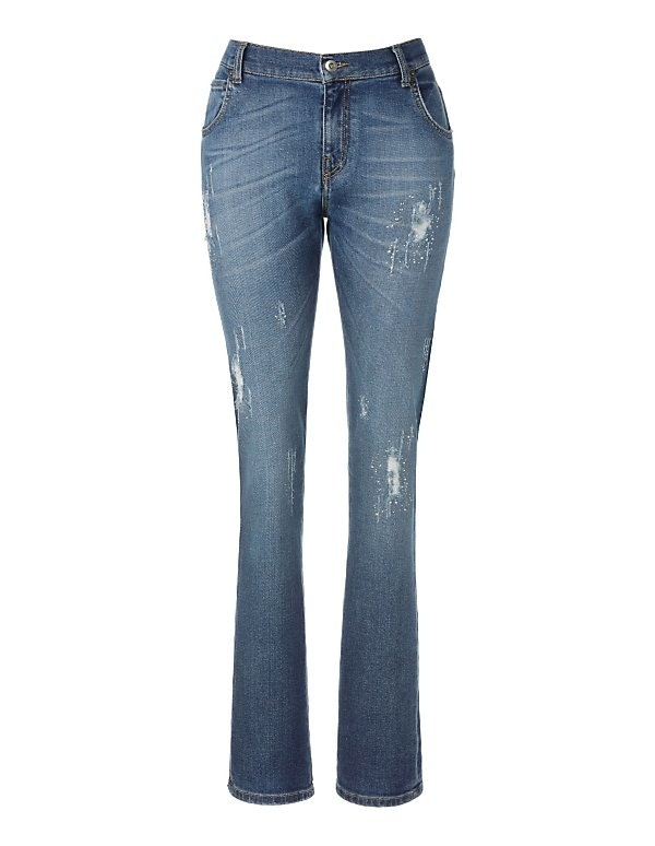 Used-Jeans mit Strass