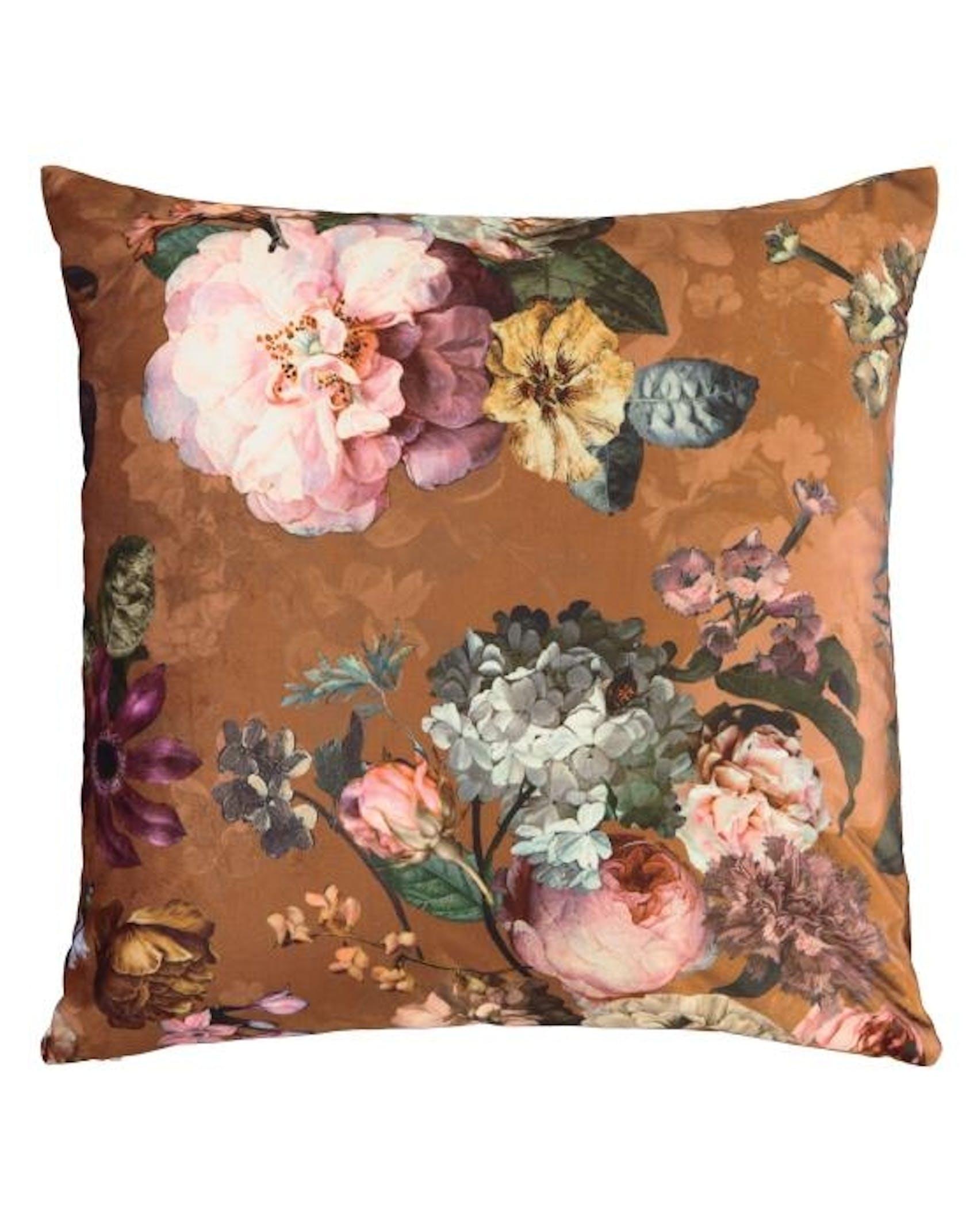 ESSENZA Fleur Cushion square Leather Brown