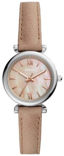 Cette montre FOSSIL se compose d'un boîtier Rond de 28 mm et d'un bracelet en Cuir Véritable de Vache Brun