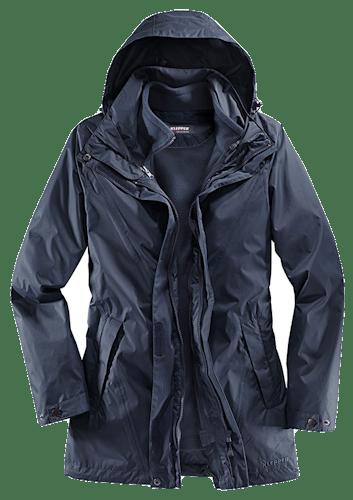 Dunkelblaue Outdoor-Jacke mit Kapuze und heraustrennbarer Fleecejacke.