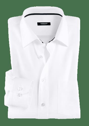 Weißes Hemd mit schwarzem Streifen im Innenkragen.