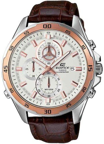 Cette montre EDIFICE se compose d'un Boîtier Rond de 47 mm et d'un bracelet en Cuir Marron