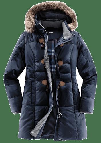 Dunkelblauer Mantel mit Stepp und Kapuze mit Webpelzkragen.