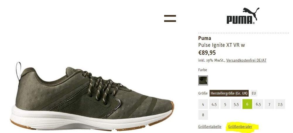 Zuerst wählt Ihr den gewünschten Schuh, dann geht auf Größenberater