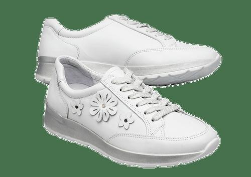 Weiße Sneaker zum Schnüren mit weißen, aufgesetzten Lederblumen