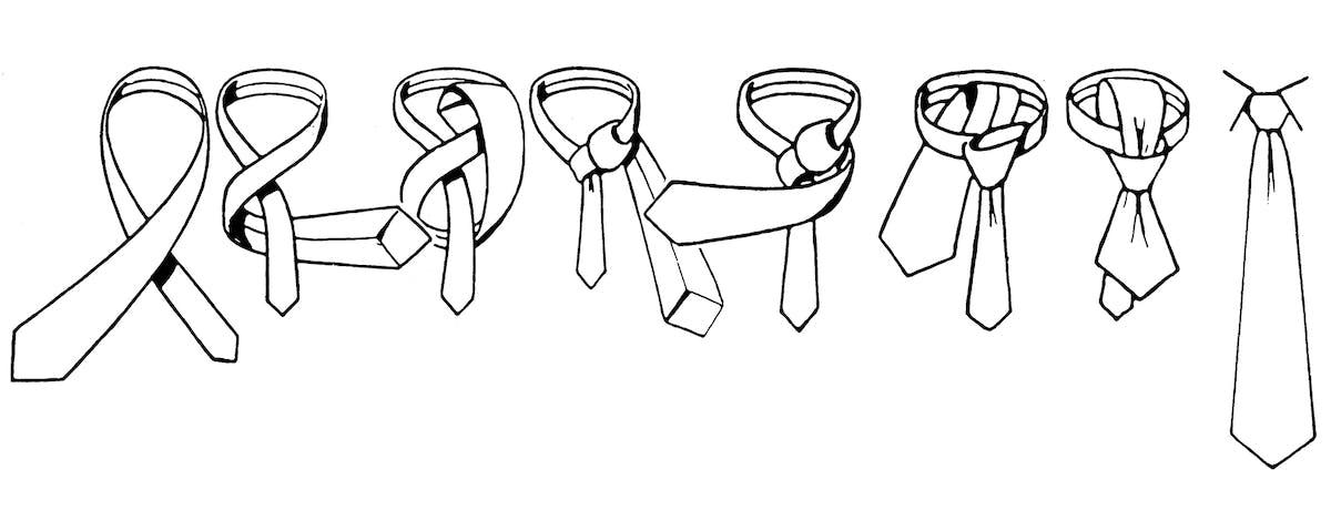 Zeichnung, wie man eine Krawatte mit Windsor-Knoten bindet