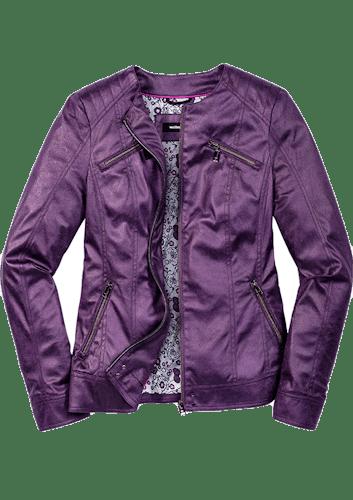 Kurze Jacke aus Nubukskin in Lila