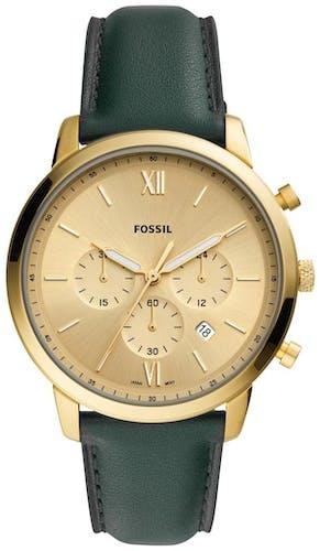 Cette montre FOSSIL se compose d'un boîtier Rond de 44 mm et d'un bracelet en Cuir Vert