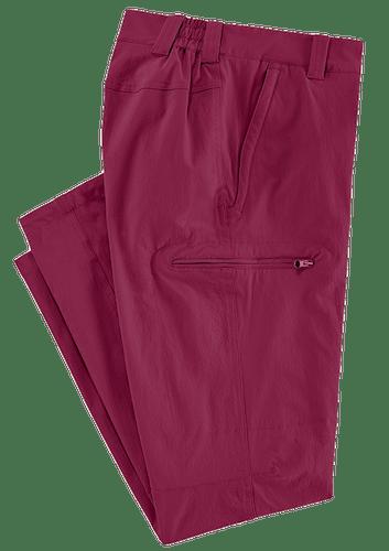 Rote Hose mit elastischem Bund und Tasche.