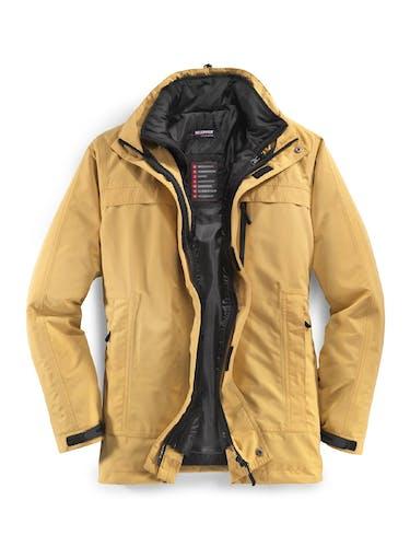 Gelbe Jacke mit schwarzem Innenfutter.