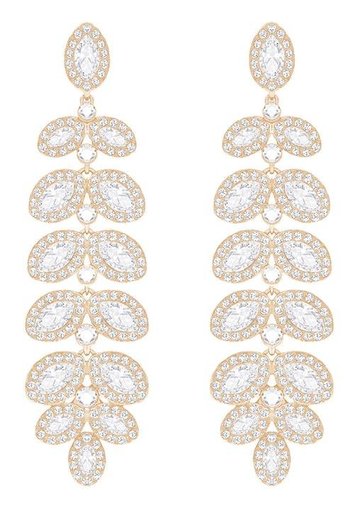 Boucles d'oreilles SWAROVSKI en Métal Rose et Cristal Blanc