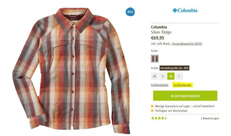 """Das gewünschte Kleidungsstück auswählen und auf """"Größenberater"""" gehen."""