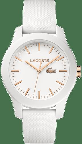 Montre LACOSTE Femme, Boîtier Rond, Bracelet Silicone Blanc