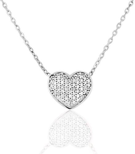Ce Collier CLEOR est en Or 750/1000 Blanc et Diamant Blanc en forme de Cœur