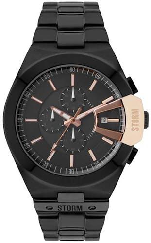 Cette montre STORM se compose d'un Boîtier Rond de 45 x 52 mm et d'un bracelet en Acier Noir