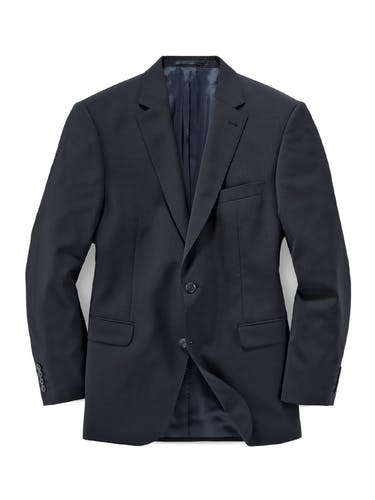 Schwarzes Sakko mit Reverskragen, zwei Knöpfen und zwei Taschen.