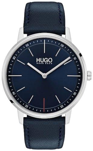 Cette montre HUGO se compose d'un boîtier Rond de 40 mm et d'un bracelet en Cuir Bleu