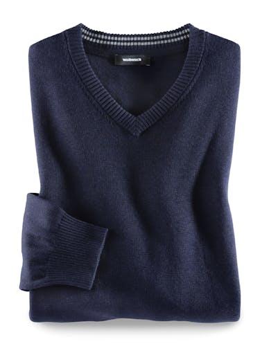 Pullover mit V-Ausschnitt in Dunkelblau.