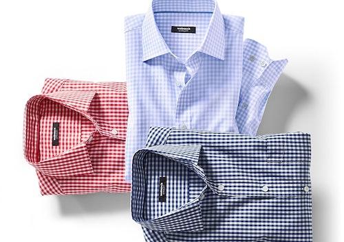 3 Karo-Hemden im Stapel