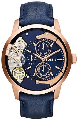 Cette montre FOSSIL se compose d'un boîtier Rond de 44 mm et d'un bracelet en Cuir Bleu