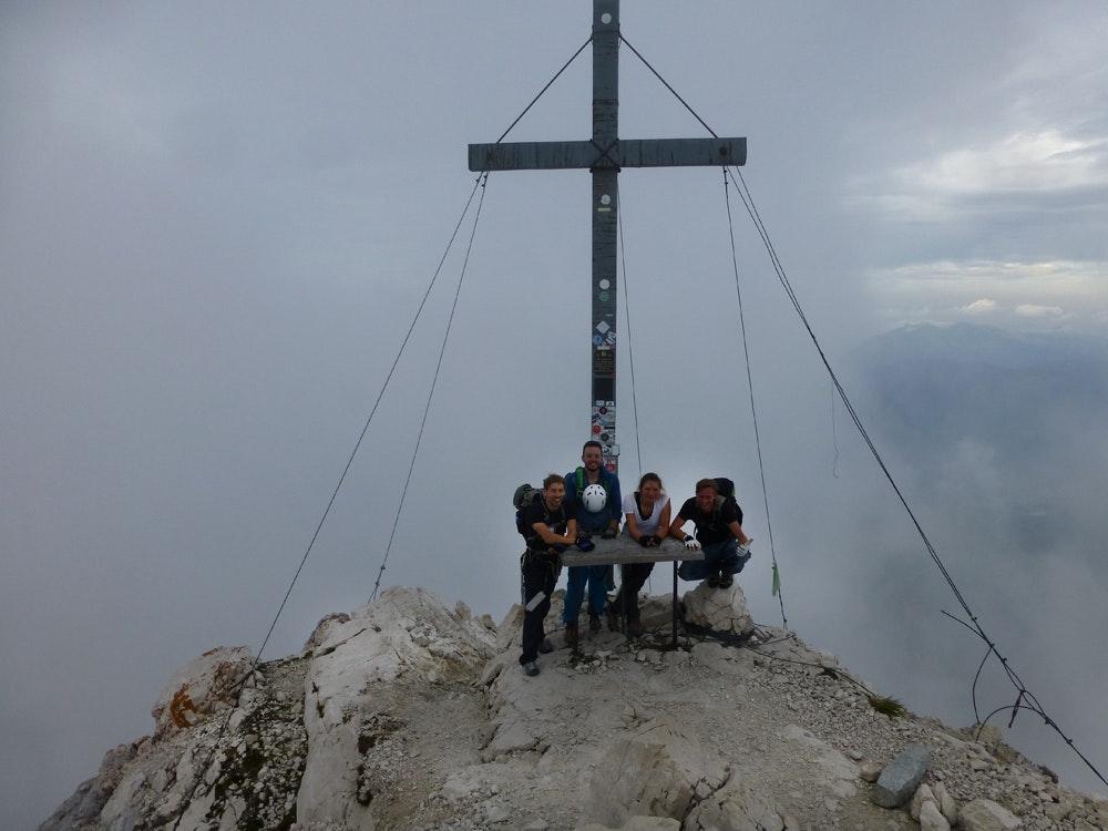 Glücklich am Alpspitzgipfel.