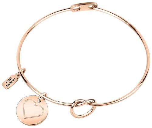 Ce Bracelet LA PETITE STORY est en Acier Rose en forme de Cœur
